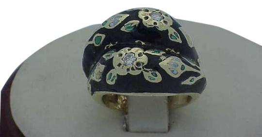 Other Victorian Multi Color Enameled 18kt Yellow Gold Diamond Ring, 1880s