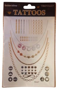 Other GOLD SILVER METALLIC FLASH TEMPORARY TATTOO 1 SHEET