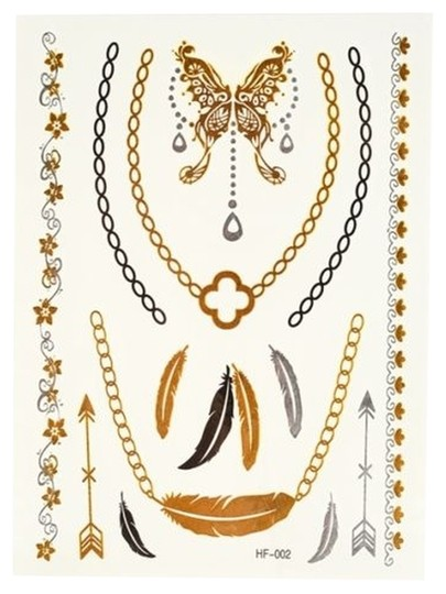 Other 1 SHEET GOLD SILVER METALLIC FLASH TEMPORARY TATTOO