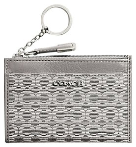 Coach Coach Madison Silver Needlepoint Op Art Mini Skinny Card Case