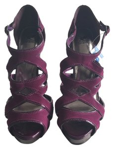 Shiekh Stiletto Suede Open Toe Open Holes NEW Plum - Burgundy Platforms