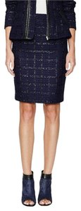 Alex + Alex Tweed Pencil Plaid Grid Work Navy Indigo Metallic Gilt + Wool Skirt Indigo/black