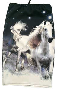Horses Skirt SUBLIMATION - PRINTED - NAVY/WHITE
