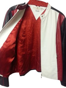 Tommy Hilfiger Red White Patriotic Usa Motorcycle Jacket