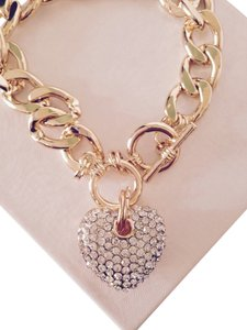 Other Gold-Tone & Pave' Heart Link Bracelet
