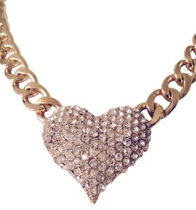 Pave' Gold-Tone 3D Heart Pendant With Adjustable Link Chain Necklace