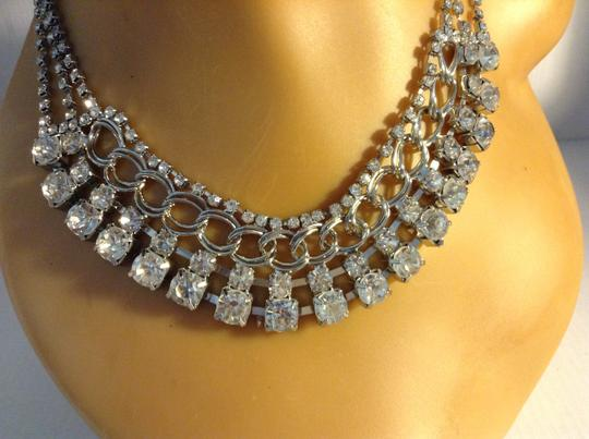 Other Clear, Silver Tone Layered Dropped Crystal Statement Necklace 05241