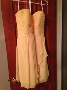 David's Bridal Canary Chiffon F14847 Formal Bridesmaid/Mob Dress Size 6 (S)