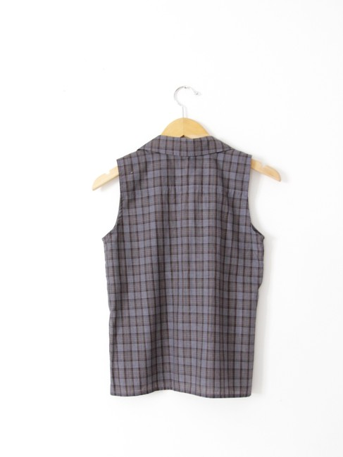 DKNY Plaid Sleeveless Tank Button Down Shirt Gray