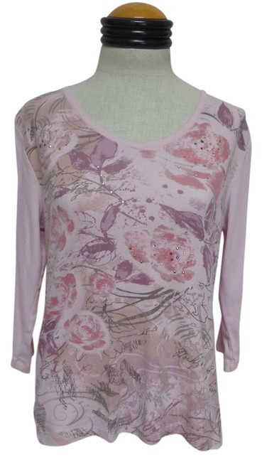 Preload https://item2.tradesy.com/images/nicole-miller-pink-34-sleeve-floral-knit-t-shirt-3117991-0-0.jpg?width=400&height=650