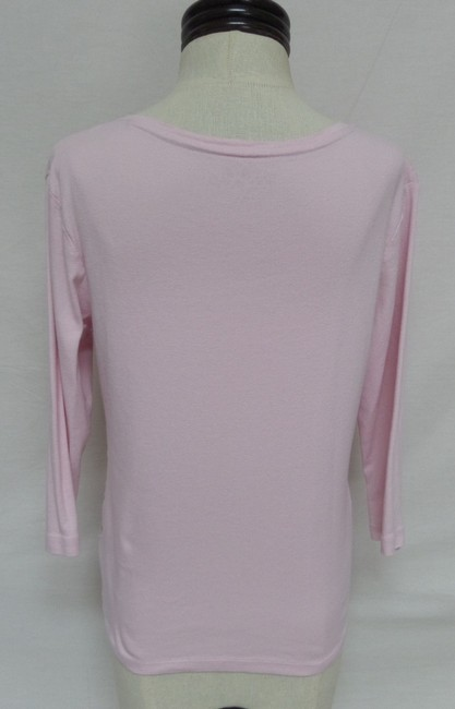 Nicole Miller 3/4 Sleeve Floral Knit T Shirt Pink