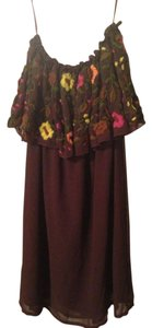 Judith March short dress brown and multicolored Flower Strapless on Tradesy