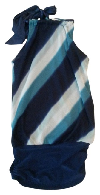 Charlotte Russe Striped Tie Bow Blue Halter Top