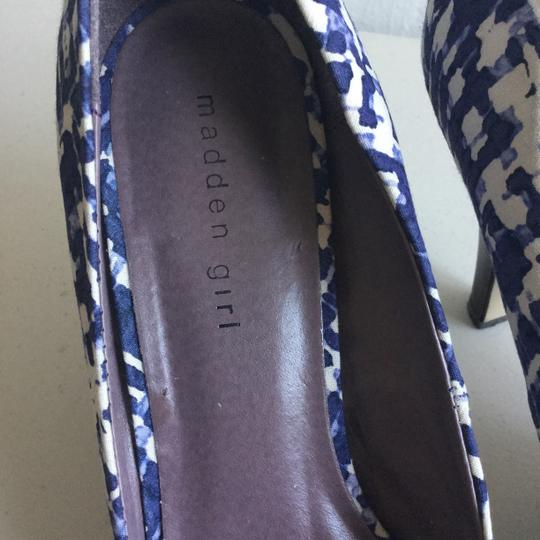Madden Girl Peep Purple and White Open Toe Pumps