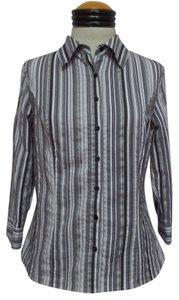 Apt. 9 Button Down Shirt Black White and Gray Striped
