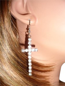 Other 1 Pair Fashion Silver Rhinestone Cross Dangle Hook Earrings