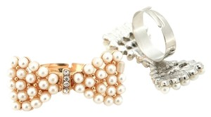 Fashion Bow Butterfly Rhinestones Pearl Gold Silver Adjustable Ring