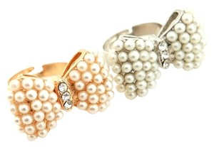 Cute Fashion Bow Butterfly Rhinestones Pearl Gold Silver Adjustable Ring