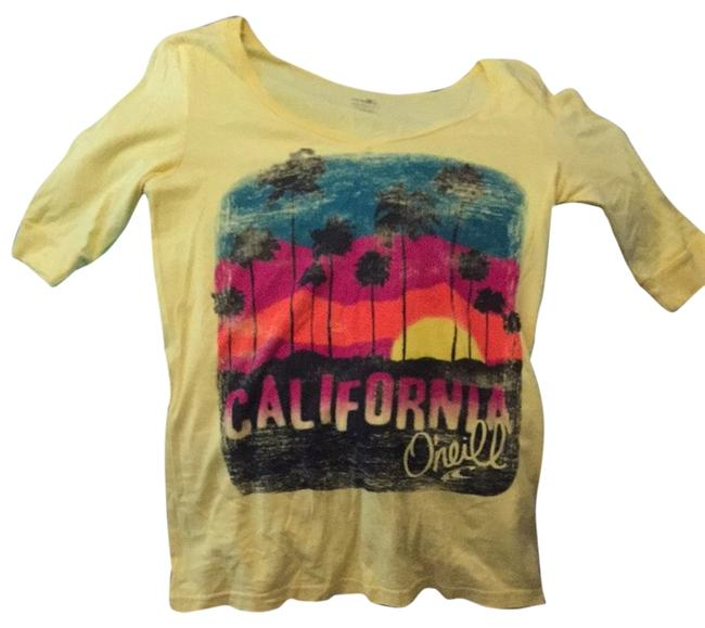 Preload https://item1.tradesy.com/images/o-neill-yellow-california-sunset-graphic-tee-shirt-size-12-l-3118750-0-0.jpg?width=400&height=650