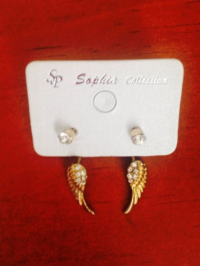 Other Gold Rhinestones Stud Dangling Angel Wing Earrings