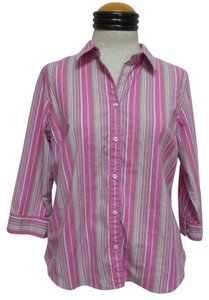 Izod Petite Button Down Shirt Purple with Multi Color Striped Print