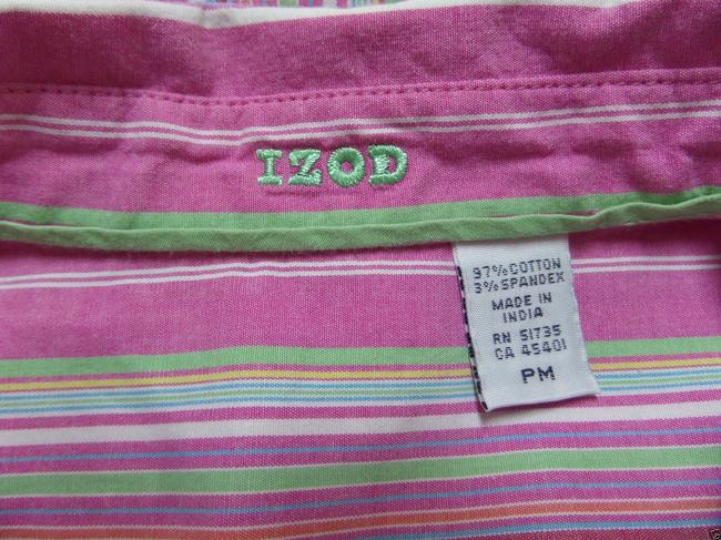 Izod Petite 3/4 Sleeve Button Down Shirt Purple with Multi Color Striped Print