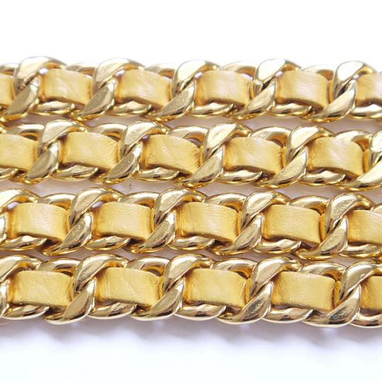 Chanel Chanel Yellow Lamb Leather + Gold Double Chain Belt
