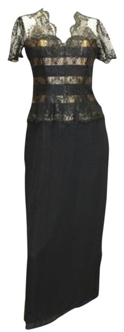 Item - Black Silk Evening Party Formal Gown Long Cocktail Dress Size 6 (S)