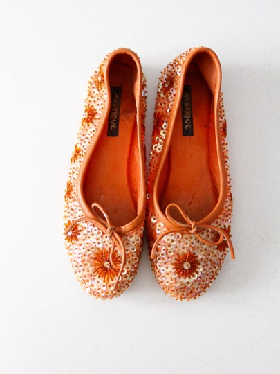 Mystique Boutique Ballet Sequin Orange Flats