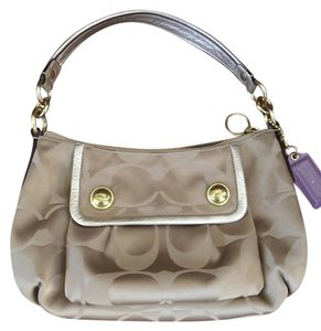 Coach Poppy Purse Gold Hobo Sateen Shoulder Bag
