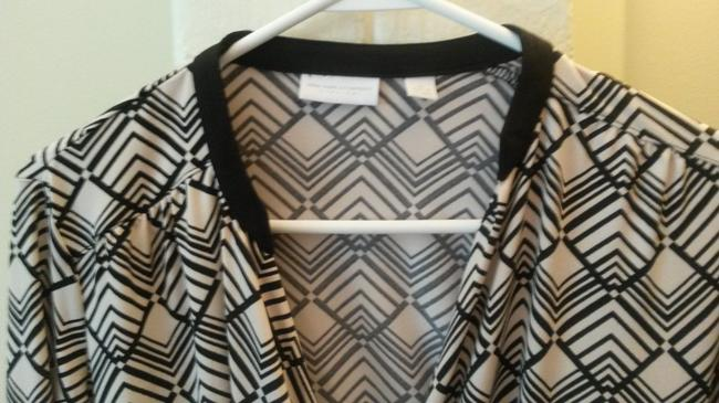 New York & Company Aztec Print Top black