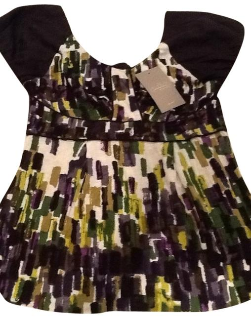 Anthropologie Top Black with green and purple