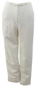 Herman Geist Woman Designer White Linen Dressy Pants Relaxed Pants White