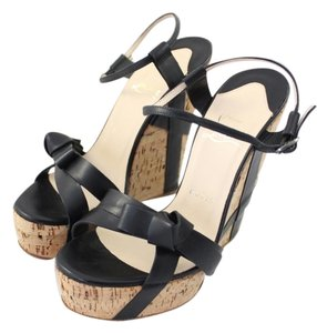 Christian Louboutin Miss Cristo Cork Black Wedges