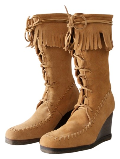 Free People Moccasin Lace Up Wedge Suede Tan Boots