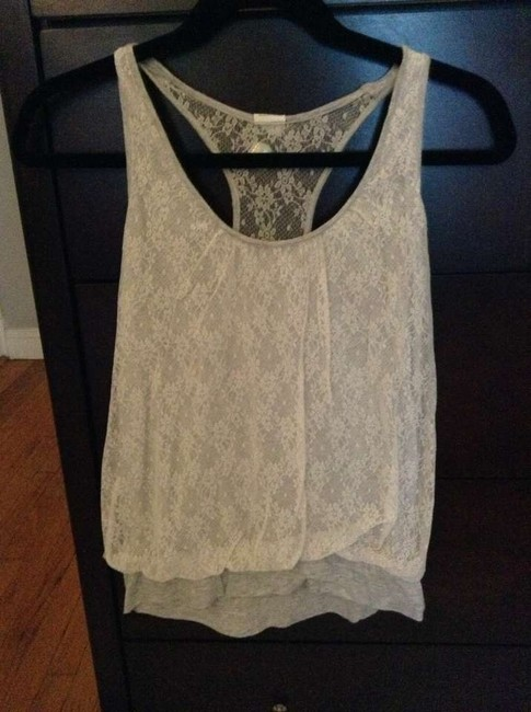 Express Lace Racer-back Top Gray, white