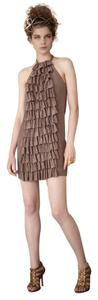 Anthropologie short dress Beige Silk Racer-back on Tradesy