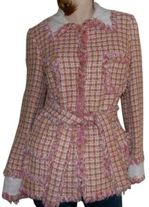 Cache Woven Plaid Pink Checks Checkered Pink, Plaid Jacket