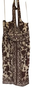 Jones New York short dress Chocolate brown Halter Pattern Creme on Tradesy
