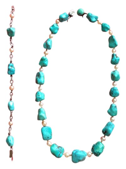Other SALE Vintage Swedish Turquoise, REAL Pearl and Sterling Necklace/Bracelet Set 1958