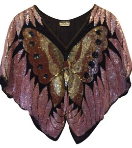 Swee Lo Silk Beaded Buterfly Top pink, brown, tan, black