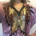 SWEE LO Pink Brown Tan Black Silk Beaded Buterfly Sequin Blouse Size 6 (S) SWEE LO Pink Brown Tan Black Silk Beaded Buterfly Sequin Blouse Size 6 (S) Image 5