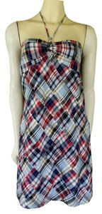 Ann Taylor LOFT short dress Blue Cotton Plaid Madras Halter on Tradesy