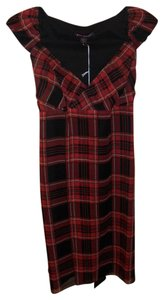 Betsey Johnson short dress Red Crimson Black Plaid Silk Wrap Wrap Size 4 Sz 4 Nwt New Empire Waist on Tradesy