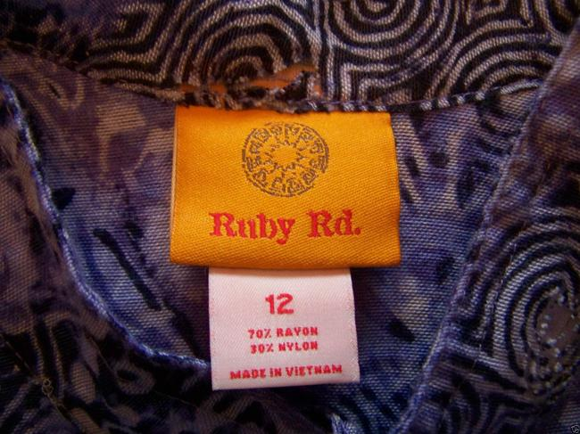 Ruby Rd. Button Down Shirt Blueish Purple Geometric Print