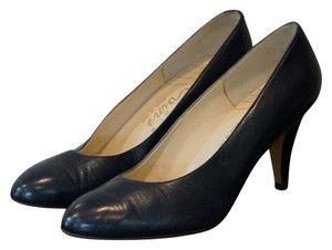 Reed Evins Vintage Leather Made In Italy Navy Pumps