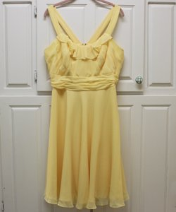 David's Bridal Yellow Polyester F13722 Formal Bridesmaid/Mob Dress Size 14 (L)