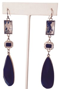 Other Faceted Black & Crystal Long Dangle Earrings