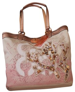 Coach Embelishment Peach Tote in beige/peach/gold