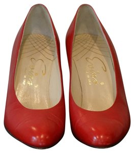 Reed Evins Made In Italy Leather Vintage Red Pumps